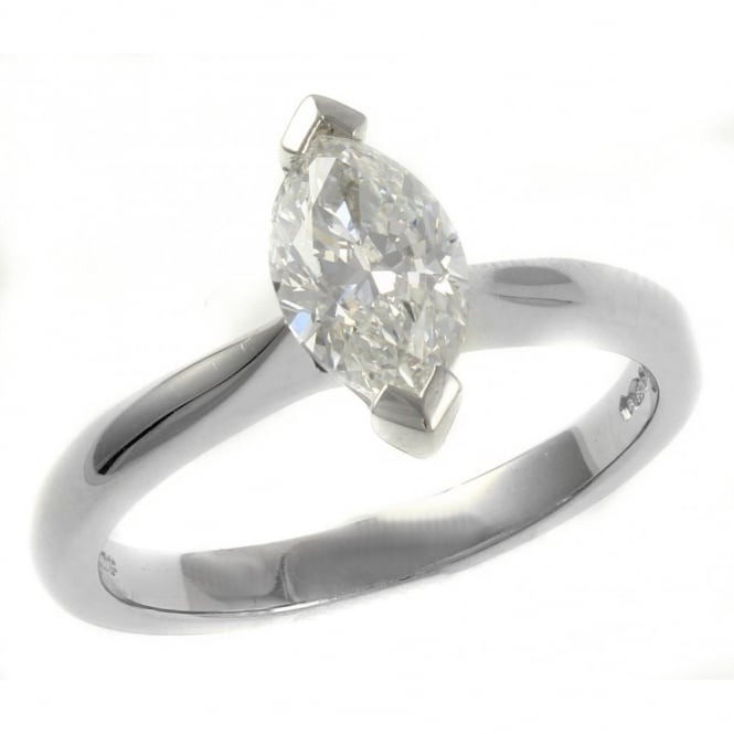 Platinum 1.01ct F VS2 GIA marquise cut diamond solitaire ring.