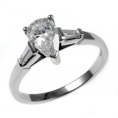 Platinum 1.01ct G SI1 GIA pear diamond solitaire ring.