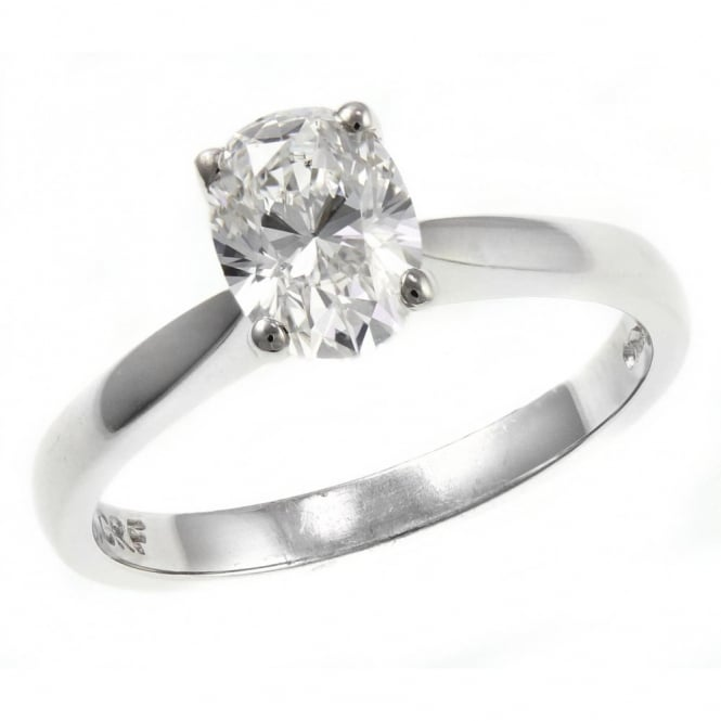 Platinum 1.01ct G VS2 GIA oval cut diamond solitaire ring.