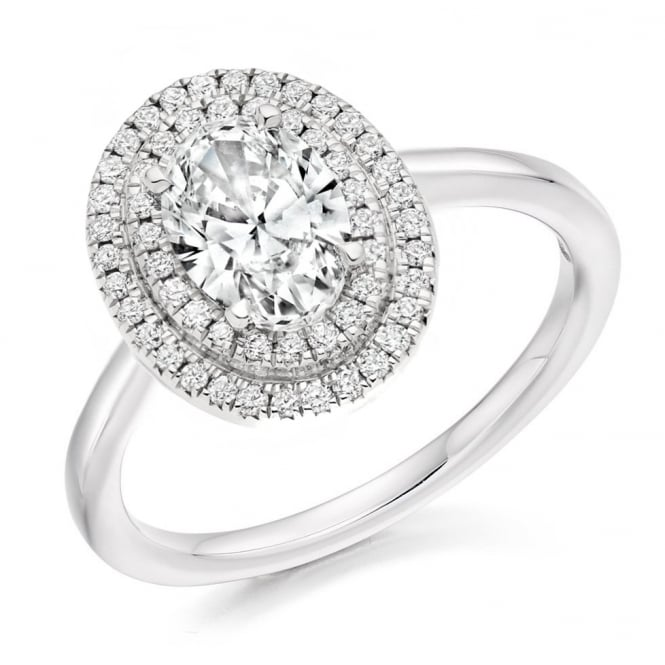 Platinum 1.02ct D SI2 GIA oval diamond double halo ring.
