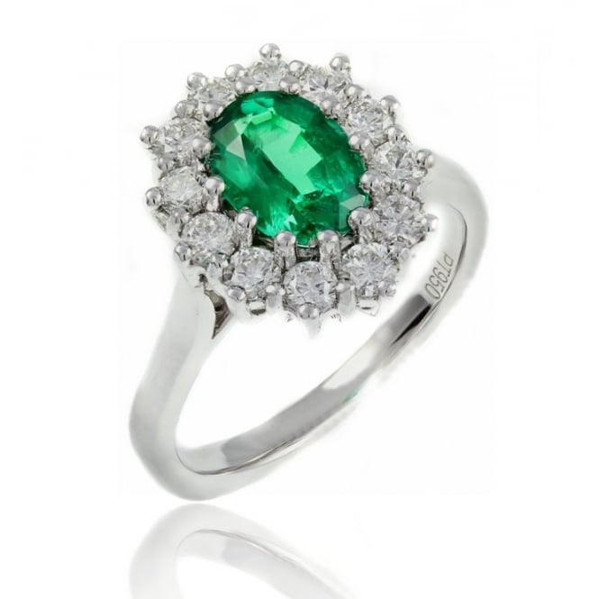 Platinum 1,02ct emerald & 0.70ct diamond oval cluster ring.
