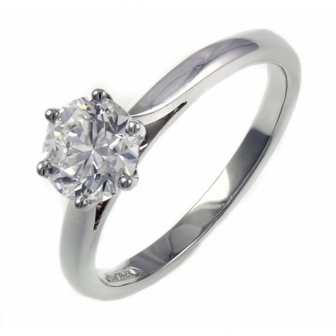 Platinum 1.02ct F VS2 GIA round brilliant cut diamond ring.