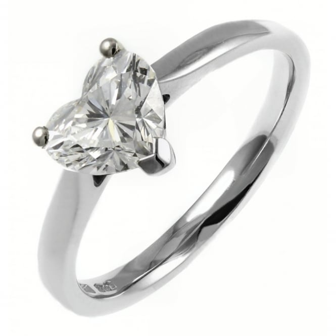 Platinum 1.03ct D SI1 EGL heart diamond solitaire ring.
