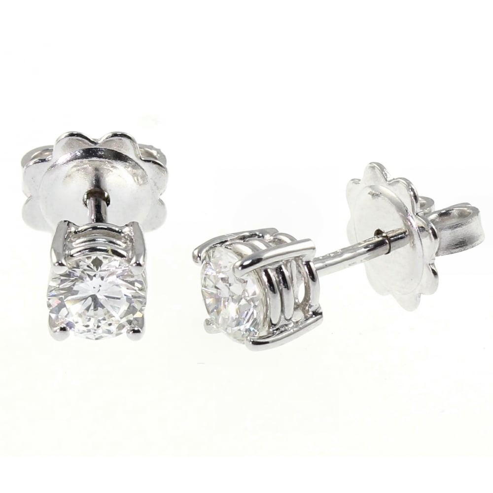 Platinum 1 03ct D Vs2 Round Brill Cut Diamond Stud Earrings