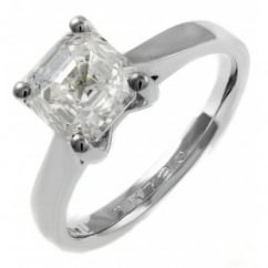 Platinum 1.05ct F VS1 EGL asscher cut diamond solitaire ring.