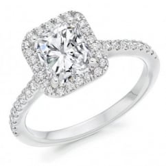 Platinum 1.06ct E VS2 IGI radiant cut diamond halo ring.