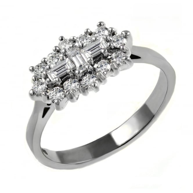 Platinum 1.07ct baguette diamond cluster ring.