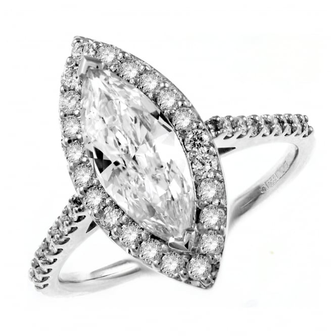 Platinum 1.08ct D SI1 GIA marquise diamond halo ring.