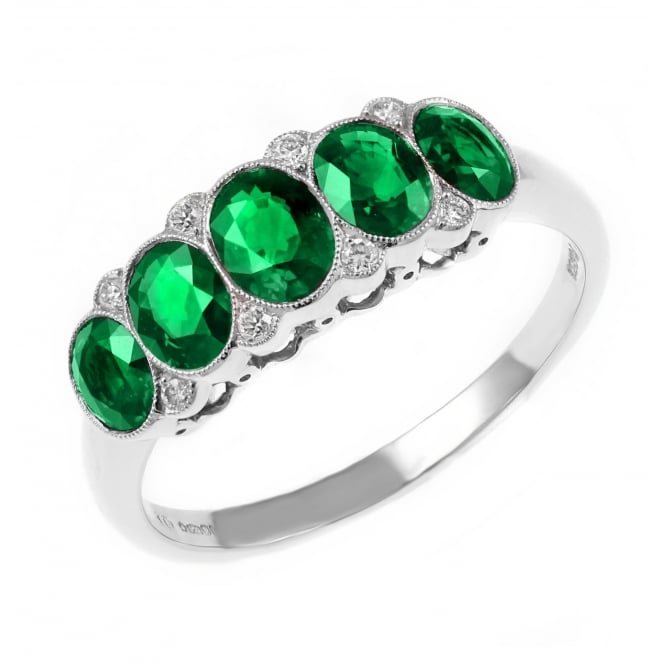 Platinum 1.09ct emerald & 0.05ct diamond 5 stone ring