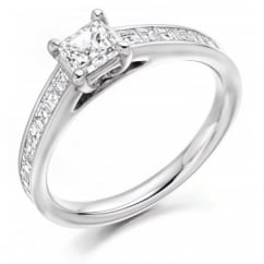 Platinum 1.10ct G VVS2 IGI asscher cut diamond solitaire ring.