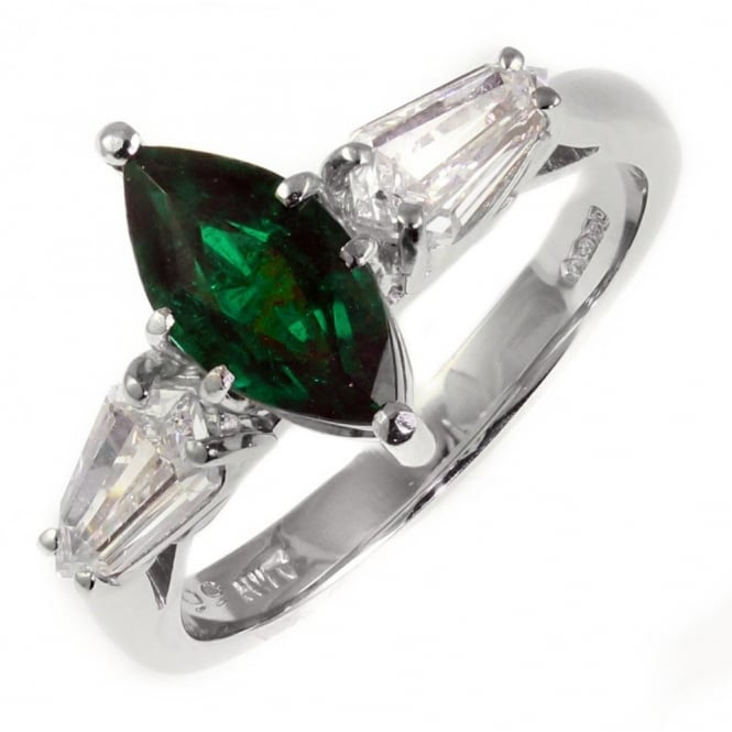 Platinum 1.17ct emerald & 0.81ct diamond ring.