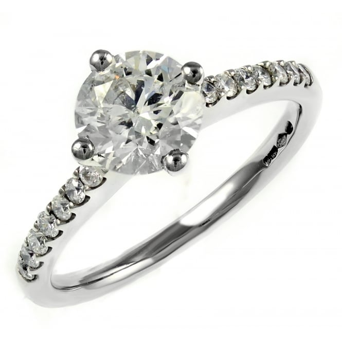 Platinum 1.21ct D SI3 EGL round brilliant cut diamond ring.