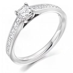 Platinum 1.26ct E VVS1 IGI asscher cut diamond solitaire ring.