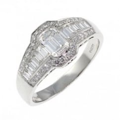 Platinum 1.28ct emerald cut diamond art deco stylel ring.