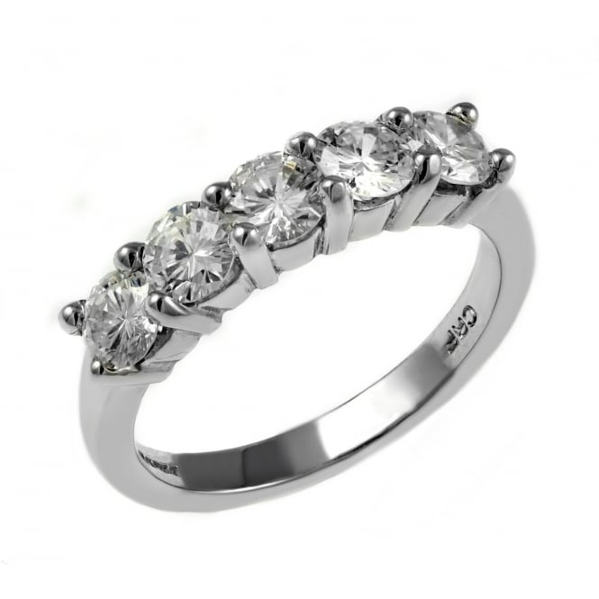 Platinum 1.28ct round brilliant cut diamond 5 stone ring.