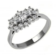 Platinum 1.30ct baguette diamond cluster ring.