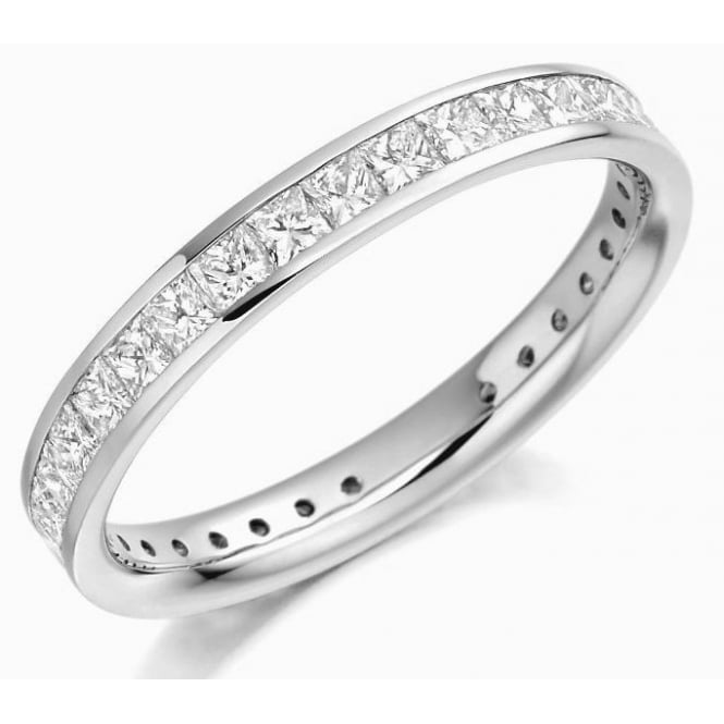 The Raphael Collection Platinum 1.30ct princess cut diamond full eternity ring.