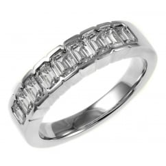 Platinum 1.31ct emerald cut diamond half eternity ring.