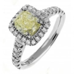 Platinum 1.35ct cushion GIA fancy yellow diamond halo ring.