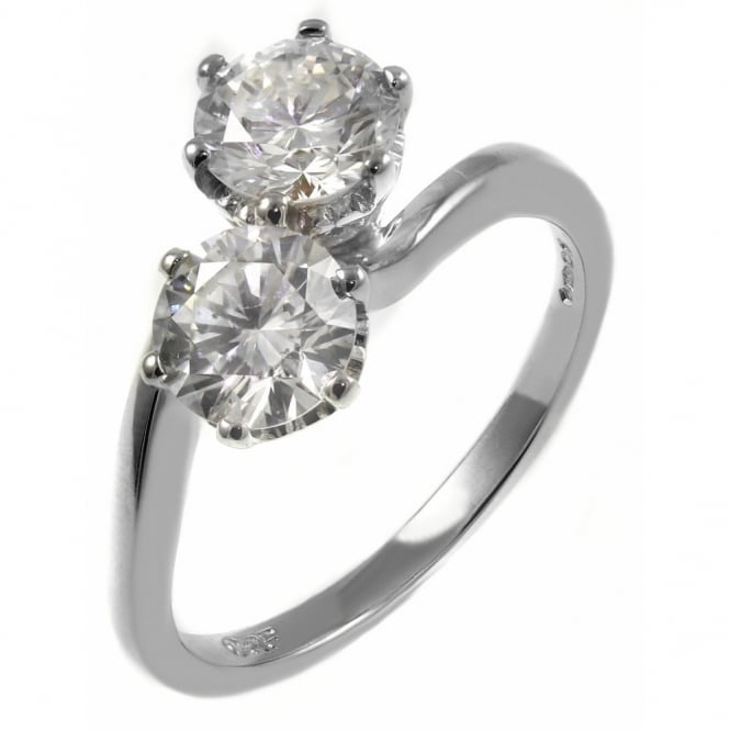 Platinum 1.41ct round brilliant cut diamond 2 stone twist ring.