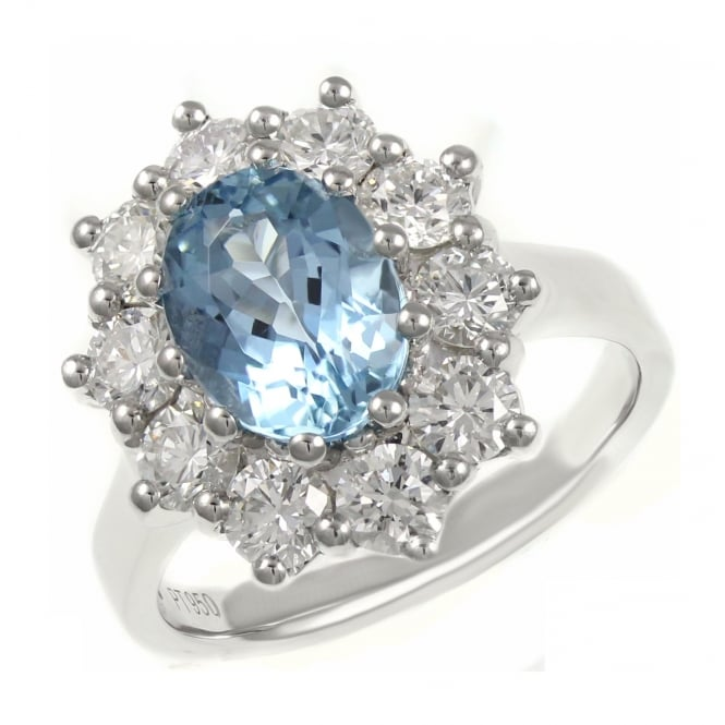 Platinum 1.44ct aquamarine & 1.81ct diamond oval cluster ring.