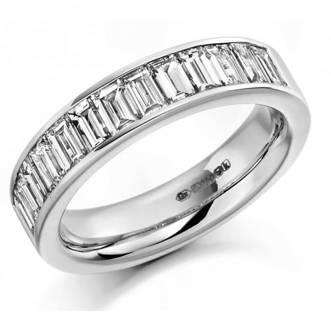 The Raphael Collection Platinum 1.50ct baguette cut diamond half eternity ring.