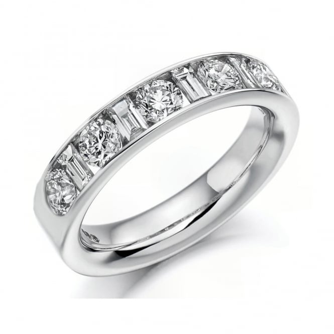 Platinum 1.50ct combination cut diamond half eternity ring.