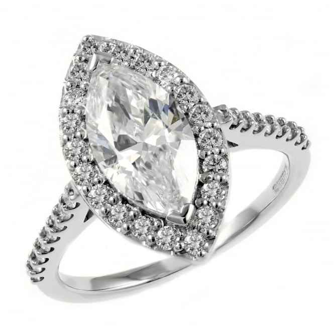 Platinum 1.50ct E SI2 GIA marquise diamond halo ring.
