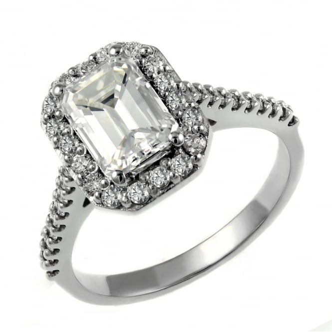 Platinum 1.50ct E VS2 GIA emerald cut diamond halo ring.
