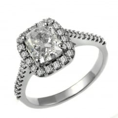 Platinum 1.50ct F SI1 GIA cuhsion cut diamond halo ring.