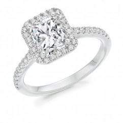 Platinum 1.50ct G VS2 IGI radiant cut diamond halo ring.