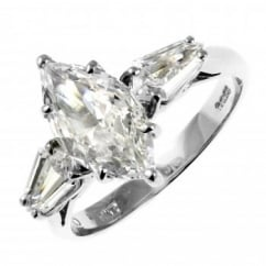 Platinum 1.50ct GIA marquise & kite diamond solitaire ring.