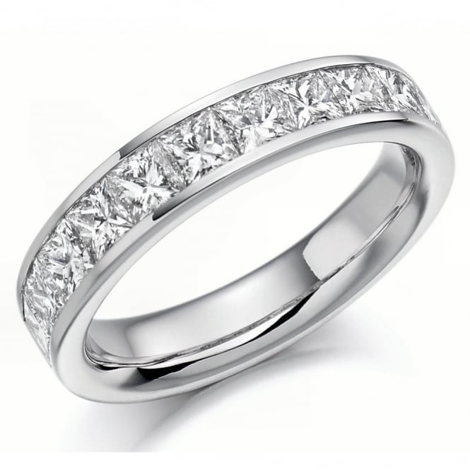 The Raphael Collection Platinum 1.50ct princess cut diamond half eternity ring.