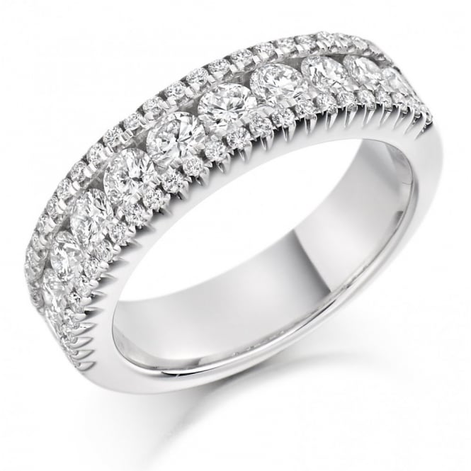 The Raphael Collection Platinum 1.50ct round brilliant cut diamond 3 row eternity ring.