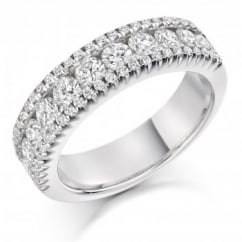 Platinum 1.50ct round brilliant cut diamond 3 row eternity ring.