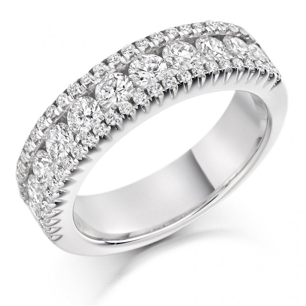White Gold Ladies Band Ring White Gold Wedding Band Wedding Ring Three Row