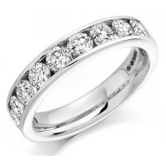 Platinum 1.50ct round brilliant H SI diamond half eternity ring.