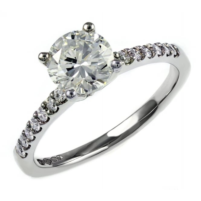 Platinum 1.51ct E SI1 EGL round brilliant cut diamond ring.