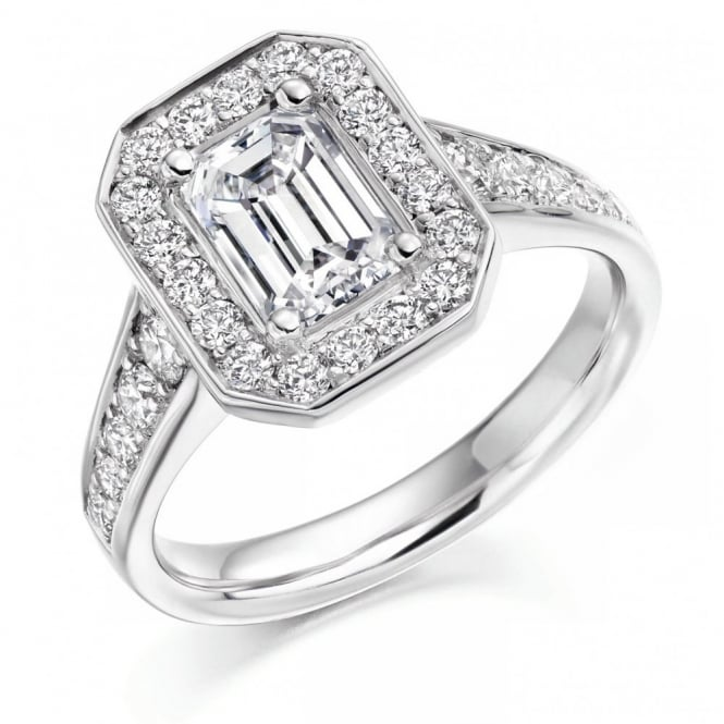 The Raphael Collection Platinum 1.51ct G VVS1 GIA emerald cut diamond halo ring.