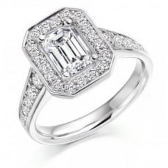 Platinum 1.51ct G VVS1 GIA emerald cut diamond halo ring.