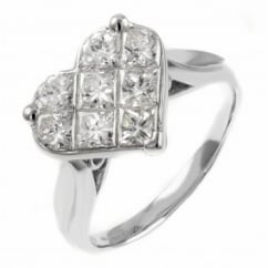 Platinum 1.51ct heart shaped invisible set diamond cluster ring