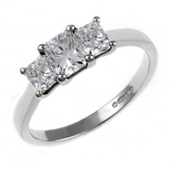 Platinum 1.51ct radiant cut EGL certified diamond 3 stone ring.