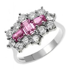 Platinum 1.53ct pink sapphire & 1.48ct diamond cluster ring