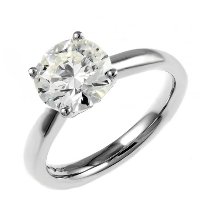 Platinum 1.54ct F SI2 EGL round brilliant cut diamond ring.
