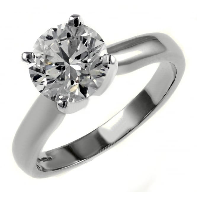 Platinum 1.55ct D SI2 EGL round brilliant cut diamond ring.