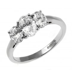 Platinum 1.58ct F VS2 EDR oval diamond 3 stone ring.