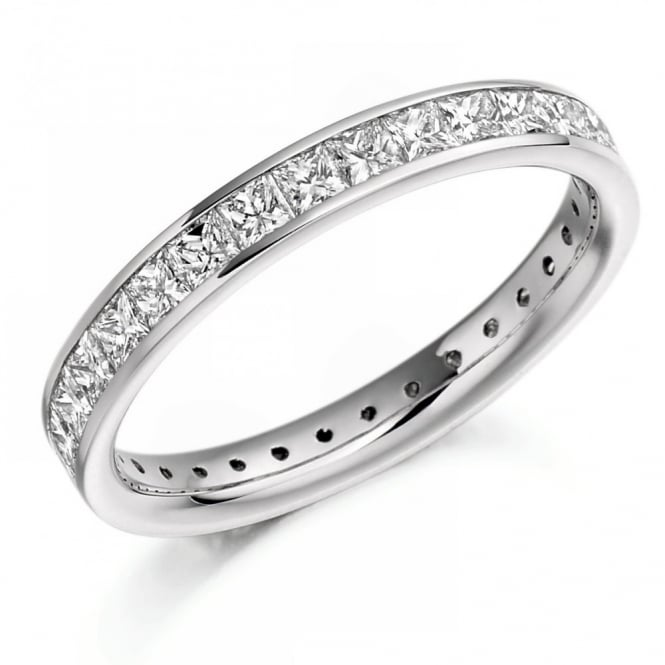 The Raphael Collection Platinum 1.60ct princess cut diamond full eternity ring.