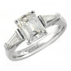 Platinum 1.66ct F VS2 GIA prince cut diamond solitaire ring.