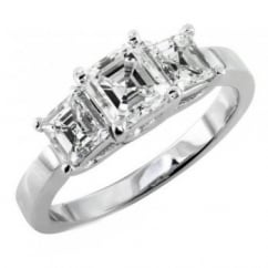 Platinum 1.67ct asscher cut diamond three stone ring.