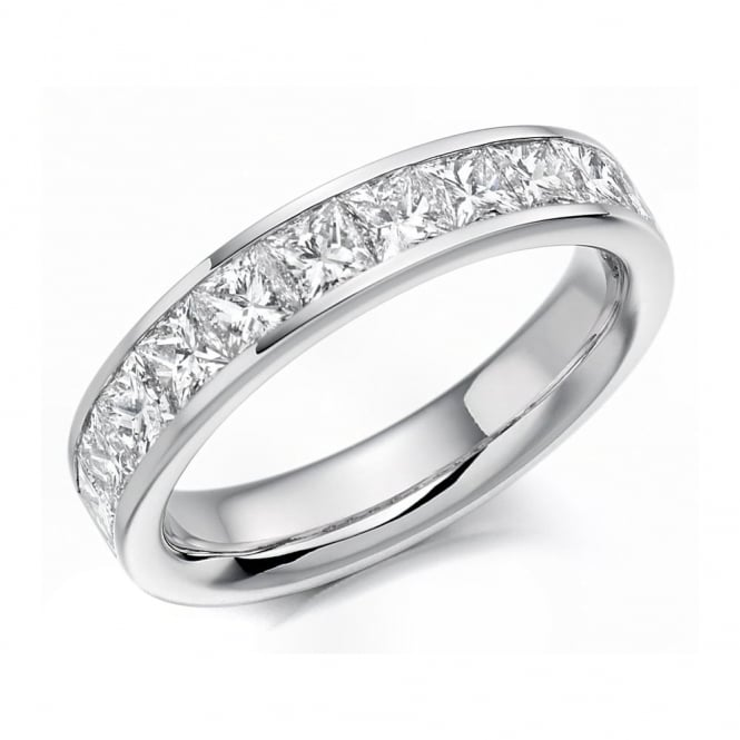 Platinum 1.70ct princess cut diamond half eternity ring.